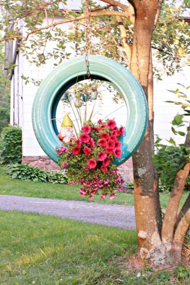 hanging tire planter garden