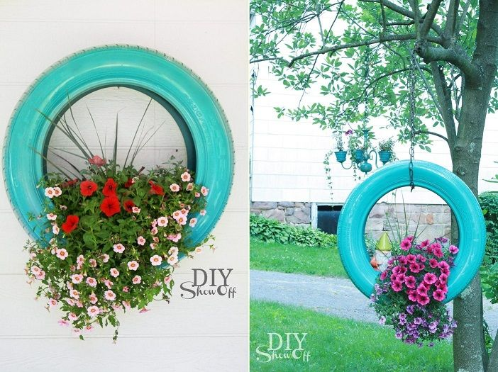 How to Make DIY Old Tire Hanging Planters